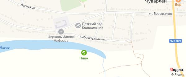 Чебоксарская улица на карте села Чуварлеи Чувашии с номерами домов