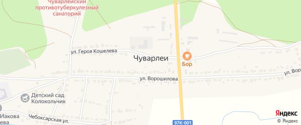 Вишнёвая улица на карте села Чуварлеи с номерами домов