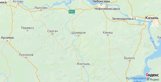 Карта Шумерлинского района республики Чувашия с городами и населенными пунктами