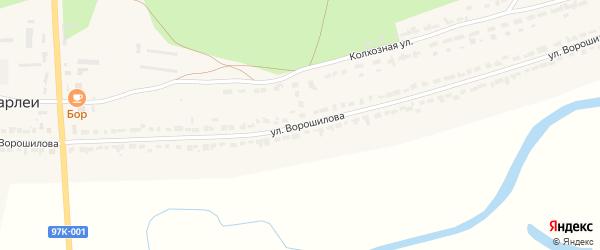 Улица Ворошилова на карте села Чуварлеи Чувашии с номерами домов