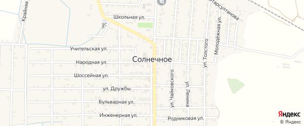 Поселковая улица на карте Солнечного села с номерами домов