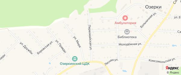Первомайская улица на карте деревни Озерки Марий Эл с номерами домов