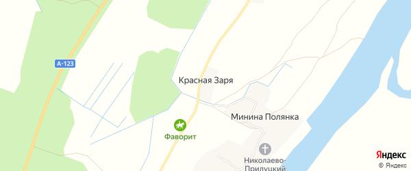 Карта деревни Красной Зари в Архангельской области с улицами и номерами домов