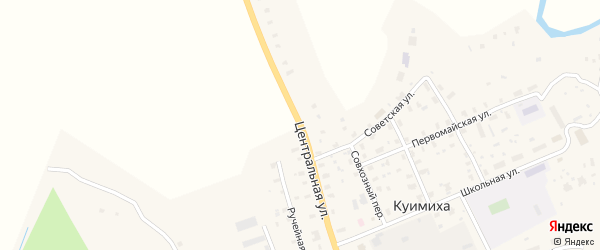 Центральная улица на карте деревни Куимихи с номерами домов