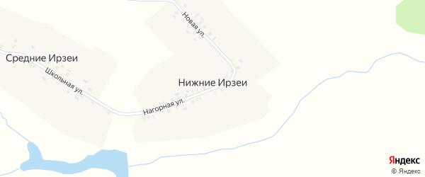 Нагорная улица на карте деревни Нижние Ирзеи Чувашии с номерами домов