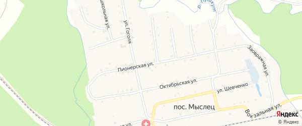 Пионерская улица на карте поселка Мыслеца с номерами домов