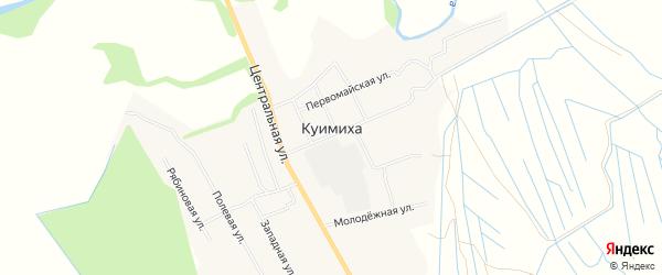 Карта деревни Куимихи в Архангельской области с улицами и номерами домов