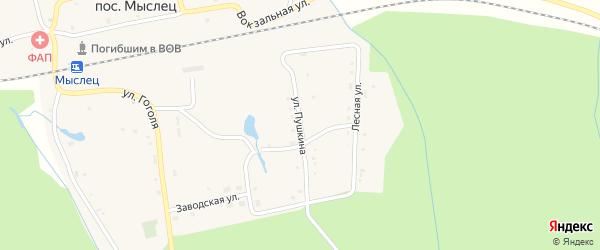 Улица Пушкина на карте поселка Мыслеца с номерами домов