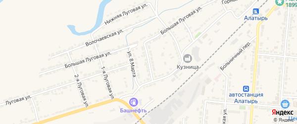 2-я Железнодорожная улица на карте Алатыря с номерами домов