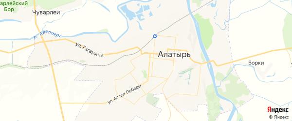 Карта Алатыря с районами, улицами и номерами домов
