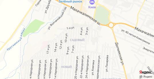 Карта поселка Садовый в Хасавюрте с улицами, домами и почтовыми отделениями со спутника онлайн