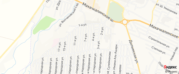 Карта Садового поселка в Дагестане с улицами и номерами домов