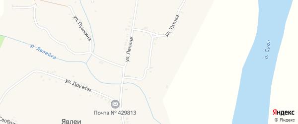 Улица Комарова на карте села Явлеи с номерами домов