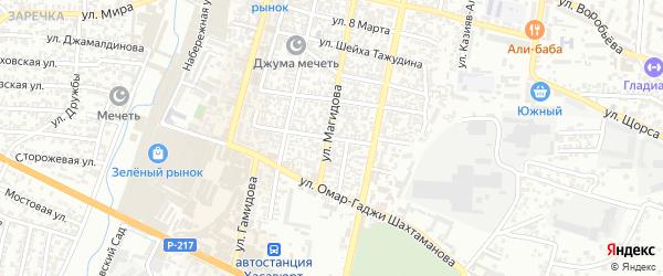 Избербашская улица на карте Хасавюрта с номерами домов