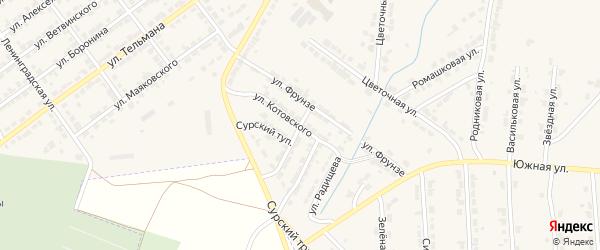 Улица Котовского на карте Алатыря с номерами домов