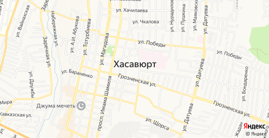 Карта микрорайона Юбилейный в Хасавюрте с улицами, домами и почтовыми отделениями со спутника онлайн