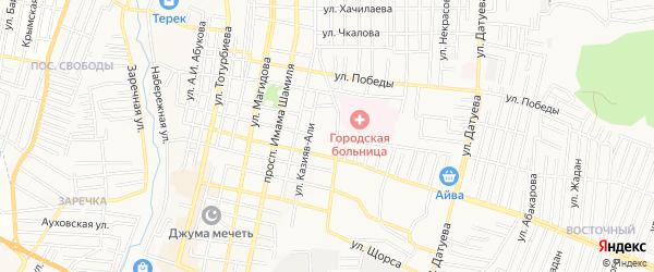 Карта Восточного микрорайона города Хасавюрта в Дагестане с улицами и номерами домов