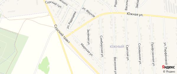 Зеленая улица на карте Алатыря с номерами домов
