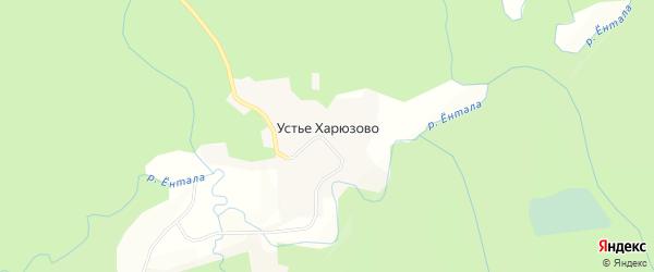 Карта поселка Устья Харюзово в Вологодской области с улицами и номерами домов