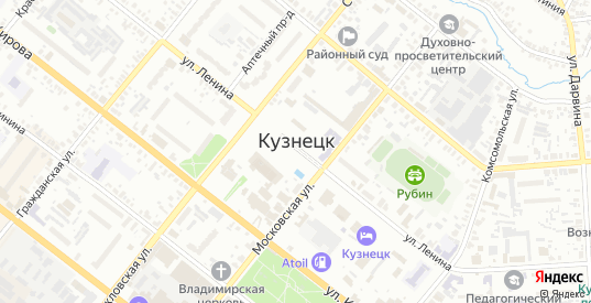 Улица Киселева в Кузнецке с номерами домов на карте. Спутник и схема онлайн