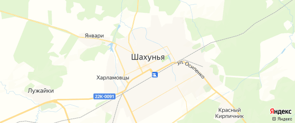 Карта Шахуньи с районами, улицами и номерами домов: Шахунья на карте России
