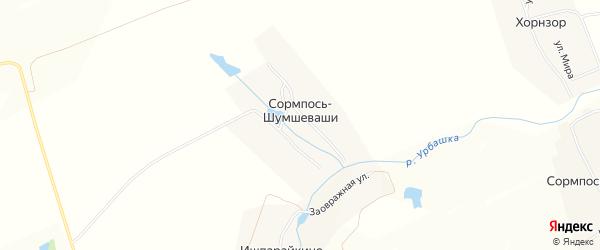 Карта деревни Сормпоси-Шумшеваши в Чувашии с улицами и номерами домов