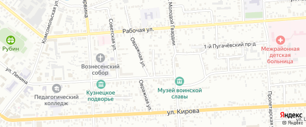 Улица Панфилова на карте Кузнецка с номерами домов