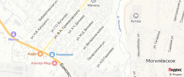Улица Ветеранов войны на карте поселка Бамматбекюрта с номерами домов