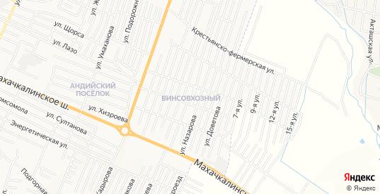 Карта поселка Винсовхозный в Хасавюрте с улицами, домами и почтовыми отделениями со спутника онлайн