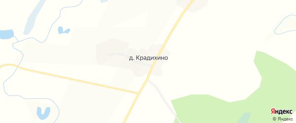 Карта деревни Крадихино в Вологодской области с улицами и номерами домов