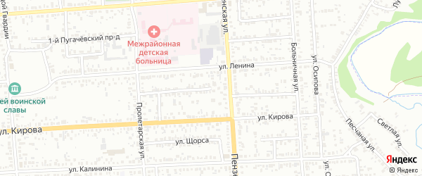 Пролетарский проезд на карте Кузнецка с номерами домов