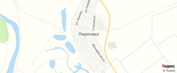 Карта села Пироговки в Астраханской области с улицами и номерами домов