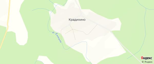 Карта поселка Крадихино в Вологодской области с улицами и номерами домов