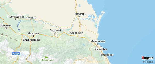 Карта Хасавюртовского района Республики Дагестана с городами и населенными пунктами