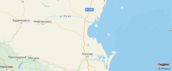Карта Тарумовского района Республики Дагестана с городами и населенными пунктами