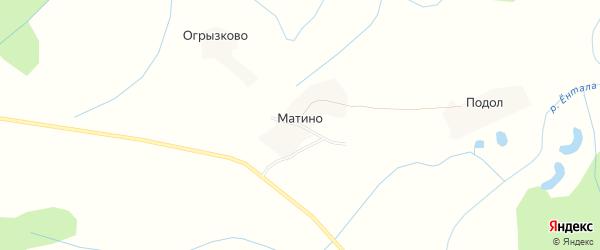 Карта деревни Матино в Вологодской области с улицами и номерами домов
