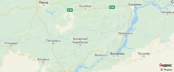 Карта Балтайского района Саратовской области с городами и населенными пунктами