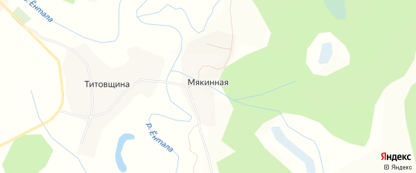 Карта Мякинной деревни в Вологодской области с улицами и номерами домов