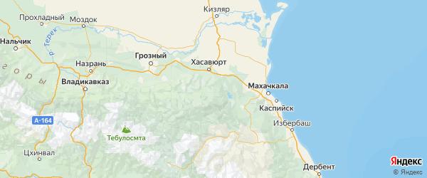Карта Казбековского района Республики Дагестана с городами и населенными пунктами