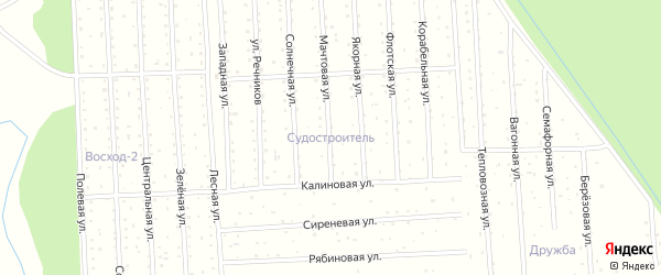 Мачтовая улица на карте садового некоммерческого товарищества СОТА Судостроителя с номерами домов