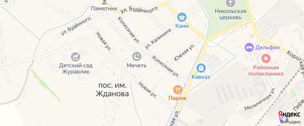 Южная улица на карте поселка им Жданова с номерами домов