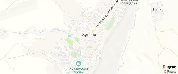 Карта села Хунзаха в Дагестане с улицами и номерами домов
