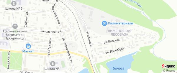 Проезд Бочага на карте Котласа с номерами домов