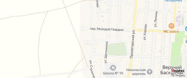Улица Строителей на карте поселка Верхнего Баскунчака Астраханской области с номерами домов