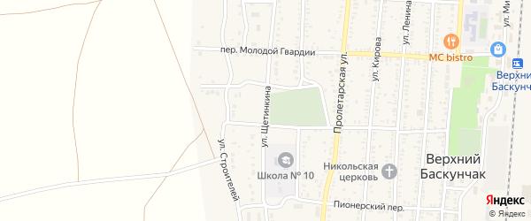 Улица Щетинкина на карте поселка Верхнего Баскунчака с номерами домов