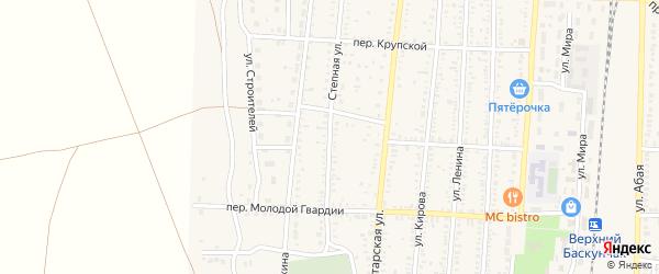 Степная улица на карте поселка Верхнего Баскунчака Астраханской области с номерами домов
