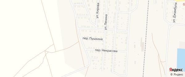 Переулок Пушкина на карте поселка Верхнего Баскунчака Астраханской области с номерами домов