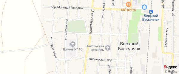 Пролетарская улица на карте поселка Верхнего Баскунчака Астраханской области с номерами домов