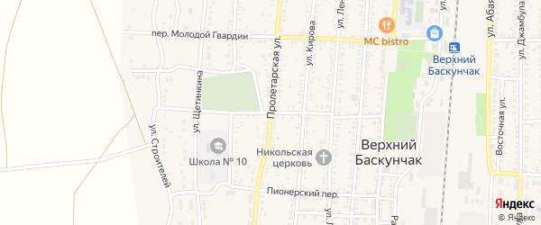 Колхозный переулок на карте поселка Верхнего Баскунчака с номерами домов