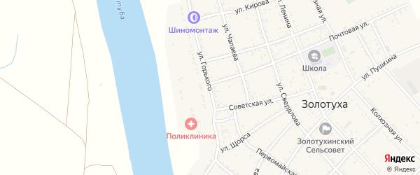 Улица Горького на карте села Золотухи Астраханской области с номерами домов